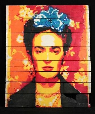Frida Kahlo Hanging Wood Spray Painting Mexican Art Home Decor Large Yellow 2