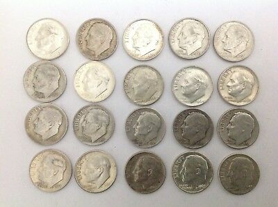 20 Assorted Silver Dimes A bunch of Silver Dimes