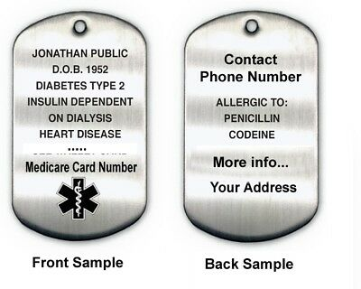 Personalised Medical ID Dog Tag Shape Engraving  Stainless Steel 30mm x50mm