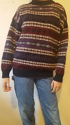 Vintage 80s 90s Patterned Jumper Pullover Size 10/S Winter Warm