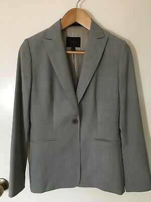 Country Road Grey Beige Jacket Blazer 100% Wool Outer Woven in Italy Size 10