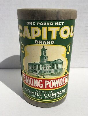 Vintage Capitol Brand Baking Powder Paper Label on Cardboard Container