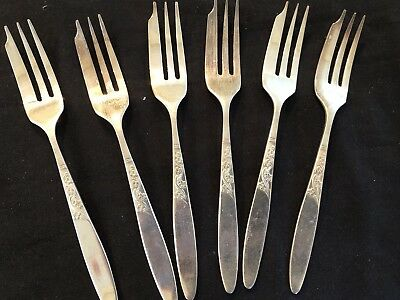 Grovenor 'christine' Cake Forks X 6 Silver Plate In Vg Cond.