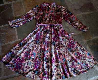 RETRO VINTAGE 1970s ABSTRACT FLORAL SOFT MID-WEIGHT POLY DRESS MED-LGE