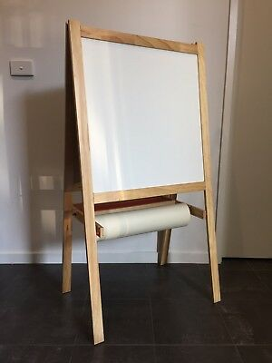 Kids Wooden Art Easel (Blackboard, Whiteboard & Art Paper)