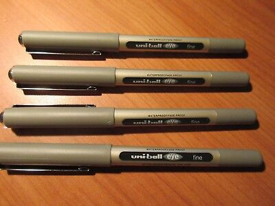 4 x BLACK Uniball Eye Fine Pen 0.7mm S/Steel Tip Capped UB157 Black free post