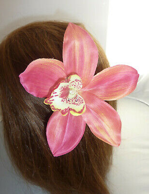 Stunning Vintage Style Large Tropical  Orchid  Flower Hair Clip 4 Colours