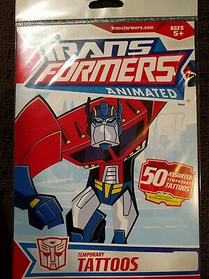 50 Assorted TRANSFORMERS Animated Temporary Tattoos Licensed (1 Pack)