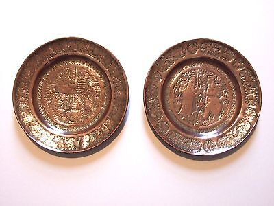 Pair of vintage hand engraved Persian copper plates, 21cm