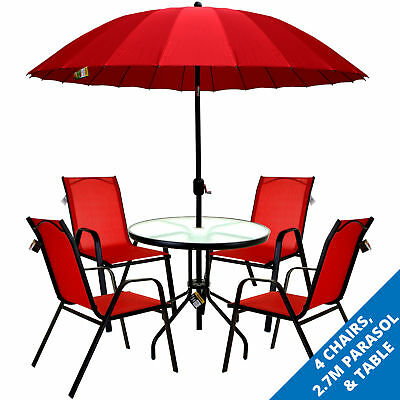 Marko Outdoor Red Furniture Set Round Glass Table 2.7M Parasol Chair Seats Patio