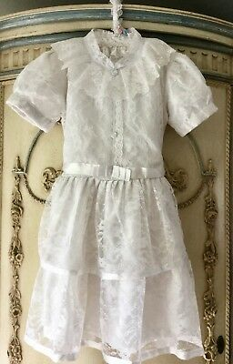 Vintage Flower Girl / Dress Up Gorgeous White Lace Dress Size 5 To 7