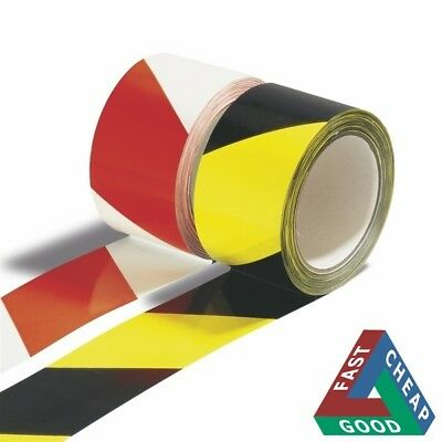 Warning Hazard Barrier Self Safety Adhesive Black/Yellow Red Tape Roll 50mmx33m