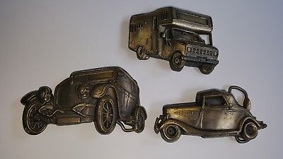 LOt of 3 Vintage Brass Belt Buckles 1930's Antique Roadster 20's Sedan & Camper