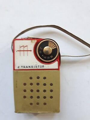 Vintage Radio 2 Transistor Boy's Radiomade In Japan + Etui + Case
