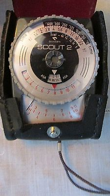 Vintage Gossen Scout 2 Exposure W Case - Light Meter For Display Or Collection