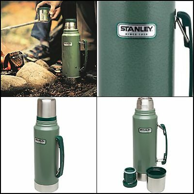 Classic Vacuum Thermos Bottle Coffee Green Hammertone 1.1 Qt Stainless Steel