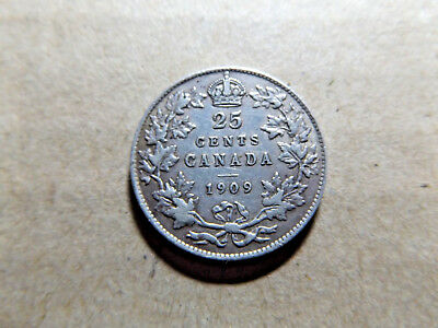 Canada 1909 25 Cents Quarter Dollar Top Condition for a 109 year old Coin