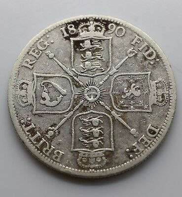 1890 UK One (1) Florin (Great Britain) F - Victoria Jubilee