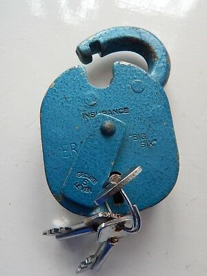 Vintage ERA Big Six Insurance Security padlock with 3 Keys