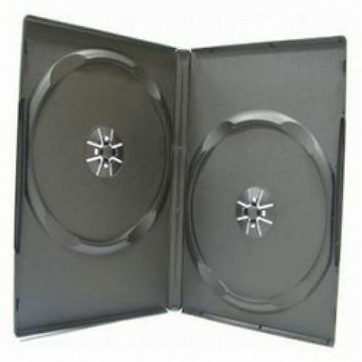 1 - Double Case 14mm Black Empty DVD Movie/Case - Holds 2 Discs - Free Shipping