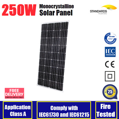 250W Mono Solar Panel Home Caravan 12V Battery Charging Camping Power 250Watt