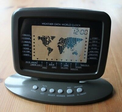 Desk/office/home Weather Data World Battery Clock, 16 Time Zones & 24 Cities