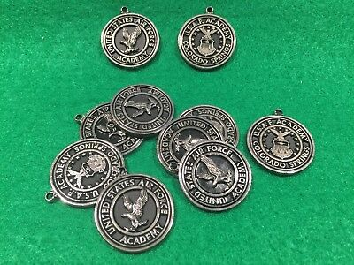Lot of 10 Vintage United States Air Force Academy Metal Key Fobs