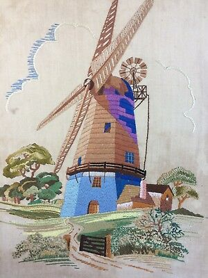 Beautiful Vintage Embroidery of Windmill