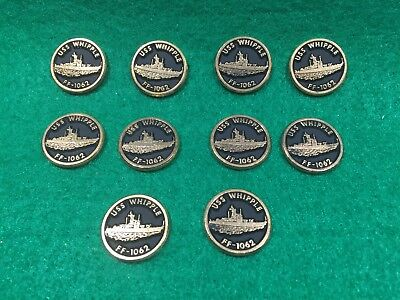 Lot of 10 1970's Vintage Navy USS Whipple FF-1062 Emblems