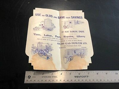 Olds Gas Engine Co. Advertising Card Hit Miss Gasoline Old Antique Farm Trade