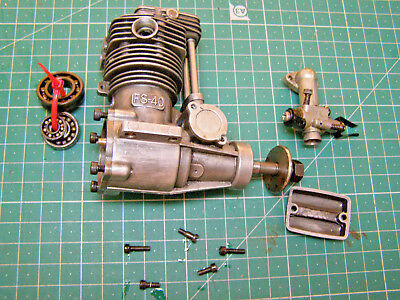 OS FS40 Four Stroke RC Glow Engine- New Bearings Fitted - Collectable