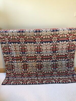 Antq. 1800'S Jacquard Patterned With Floral, Birds Coverlet, Very Good Condition