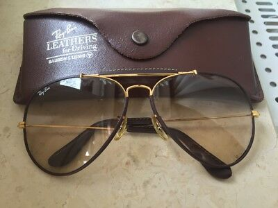 Vintage Bausch & Lomb Ray-Ban Outdoorsman 2 Aviator Sunglasses Leather 62 14