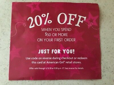 American Girl Coupon 20% off $50 or more on your first order  Exp 5/31/2018