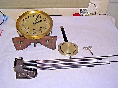 CLOCK  PARTS,MOVEMENt,CHIME, HANDS,PENDULUM ,KEY