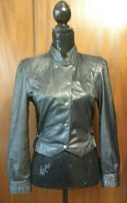 Ada Vintage Black Leather Cropped Jacket Size 9/10