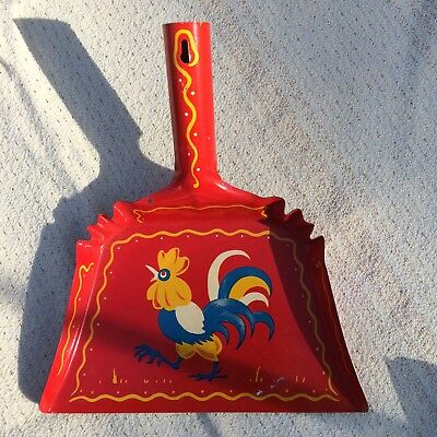 Vintage CHILDS Toy DUSTPAN Litho RED With ROOSTER Motif ADORABLE