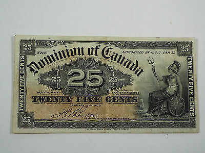 1900 Dominion of Canada 25 Cents Shinplaster - Boville - Fractional