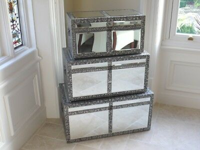 Embossed mirror Set 3 Trunk/chest ottoman Blanket Box storage Coffee Table