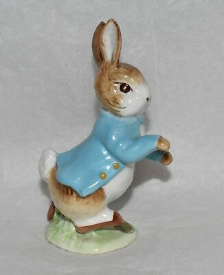 VTG Beswick England Beatrix Potter PETER RABBIT Figurine Gold Oval BP-2 Running