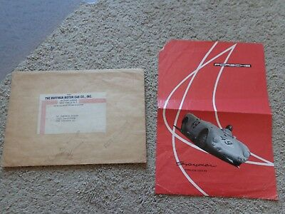 1955 Porsche Spyder 550 1500 RS Sales Sheet w Mailer Envelope Owners Dealer Man