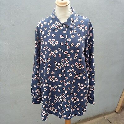 Vintage Selfridges Blue Silk Floral Shirt Blouse 12 Festival