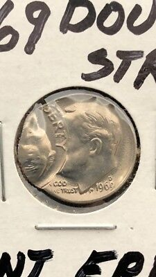 "1969 D Error Dime Double Struck Strike Flip Over Beautiful Coin ""Reverse WOW"""