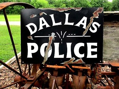 DALLAS  POLICE Department Metal SIGN TEXAS Law Enforcement OFFICE STATION GARAGE