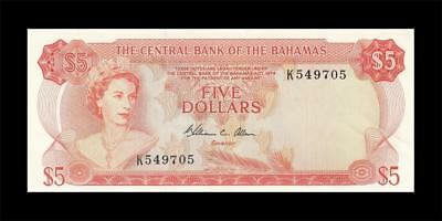1974 British Colony Bahamas Qeii $5 (( Gem Unc ))