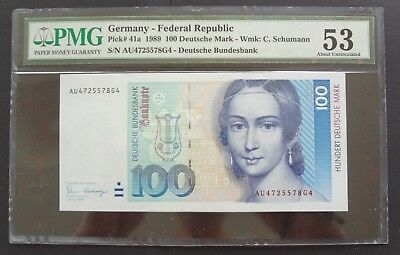 -AUCTION- GERMANY 1989 100 MARK P-41a PMG 53 aUNC KEY DATE RARE