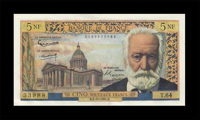 "2.11.1961 BANQUE DE FRANCE 5 NF NEW FRANCS ""RARE"" (( aUNC ))"