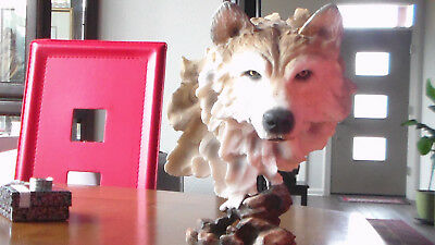 Lrge Handsome Realistic Look Wolf Alabaster Resin Sculpture Beautifully Imagined