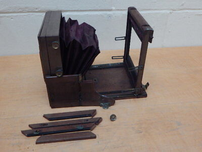 Antique Brass & Mahogany Plate Camera With Purple Bellows ~ For Restoration