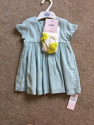 New With Tags Baby Girls Dress And Tights Marks And Spencer M&S 6-9 months
